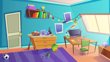 Children Bedroom Interior with Window, Furniture, Cars and Rockets Toys for Boy. Shelves with Books, Sports and School Equipment, Personal Computer on Desk. Day Time. Cartoon Flat Vector Illustration