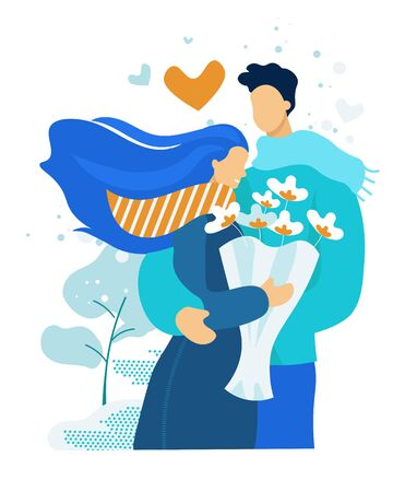 Young Couple Having Dating. Cute Embarrassed Girl in Blue Dress Holding Bouquet of Beautiful Flowers in Hands, Man Embracing Girlfriend. Love, Human Relations, Family. Cartoon Flat Vector Illustration