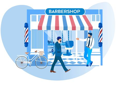 Barker Stand in front of New Barbershop Window Inviting Pedestrians Come in for Beauty Procedures and Services. Grooming Place, Victorian Decoration and Men Fashion, Cartoon Flat Vector Illustration
