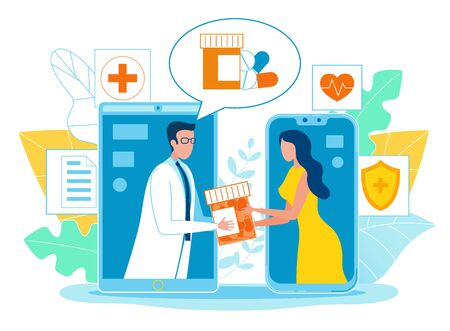 Poster Online Pharmacist Consultation Cartoon. On Phone Screen, Pharmacist Transfers Capsules with Medicine to Woman. Girl Screen Smartphone Gets Medication from Doctor. Vector Illustration.