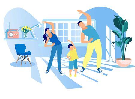 ハッピーファミリースポーツ活動。母、父、子供は自宅で朝の運動をしています。お父さん、お母さんと小さな息子のフィットネスワークアウトエクササイズ、健康的なライフスタイル屋内スポーツ漫画フラットベクターイラスト ベクターイラストレーション