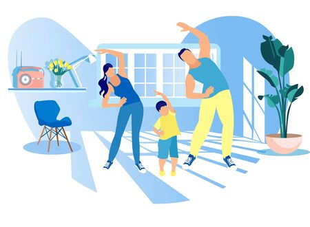 Actividad deportiva familiar feliz. Madre, padre e hijo haciendo ejercicio matutino en casa. Papá, mamá e hijo pequeño, ejercicio de entrenamiento físico, estilo de vida saludable, deportes de interior, dibujos animados, ilustración vectorial plana Ilustración de vector