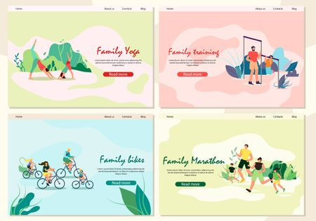 Banner Set Family Yoga, Training, Marathon, Biker. Father and Son are Engaged in Bar Park. Activity Parents with Children Doing Jogging in Fresh Air. Children and Parents Ride Bicycles.