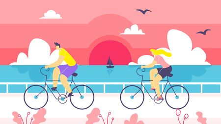 Man and Woman on Bike Ride Along Coast Cartoon. Boy and Girl Spend Their Time Riding their Bicycles against Background Sunset over Sea. In Foreground Couple Riding Bicycles. Vector Illustration.