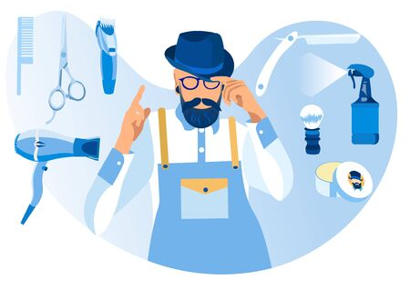 Cool and Trendy Handsome Young Bearded Man Barber Wearing Glasses, Hat, White Shirt and Uniform Apron Stand with Haircutting Tools around, Scissors, Dryer, Sprayer Cartoon Flat Vector Illustration