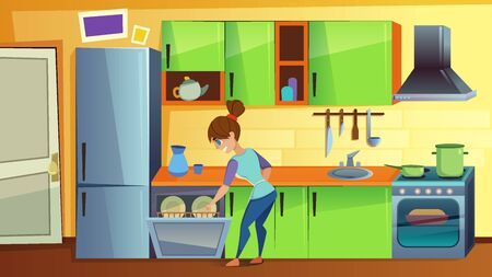 Young Woman Load Dirty Dishes in Dishwasher. Domestic Cooking Room Interior, Kitchen Counter with Appliances.