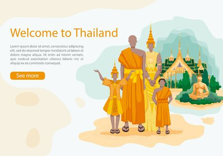 Residents Thailand in Тational Costume on Background Buddha and Palace. National Clothes. Vector Illustration. Monitor Screen. Travel and Tourism. Sites of Country. Travel Options. Travel Agency. Stock fotó - 129490271