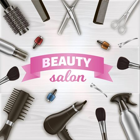 Inscription Centered Around Hairdresser Tools. Scissors and Hairdryer on Table. Tools on Table in Beauty Salon. Vector Illustration. Hairdressing Supplies. Women Salon. Nail Polish and Brash.