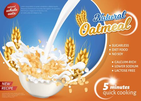 Banner is Written Natural Oatmeal New Recipe. Diet Food, no Soy. Calcium Rich, Lover Sodium, Lactose Free. Иллюстрация
