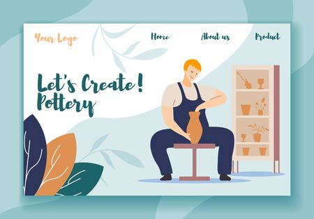 Lets Create Pottery Horizontal Banner, Male Character Making, Painting and Decorating Pot