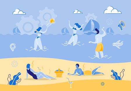 Group People Relaxing on Beach on Hot Summer Day. Young Woman and Man Play Ball Standing in Ocean Against Background Yacht.