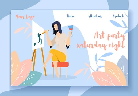 Art Party Saturday Night Horizontal Banner, Young Woman Painting on Canvas at Easel and Drinking Wine. F