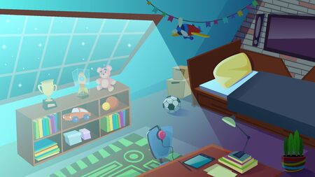Boys Bedroom Interior at Night Time with Moon Light Falling on Floor through Window. Bed, Furniture, Shelves with Books and Toys, Ball, Desk and School Equipment. Cartoon Flat Vector Illustration