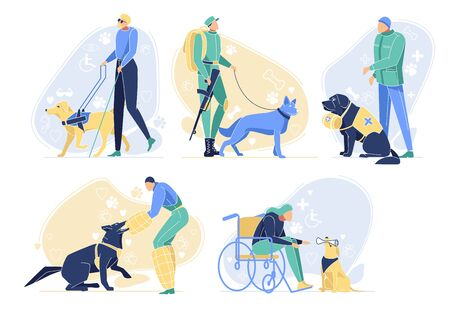 Serving Dogs with Owners Set. Pets Help People. Border Guard, Rescuer, Guide for Blind Man, Pet and Disabled Person in Wheelchair. Animals Professions in Human World. Cartoon Flat Vector Illustration