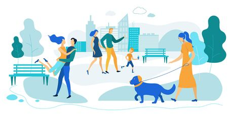 Outdoors Summer Time Activity. Men, Women and Little Kids Spending Time on Open Air. Playing with Children, Walking with Pets, Dating in City Park, Weekend Leisure. Cartoon Flat Vector Illustration Ilustracja