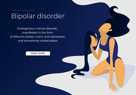 Bipolar Mental Health and Brain Disorder. Woman Hold her Second Own Head in Hand. Neurological and Emotion Symbol or Medical Psychological Metaphor. Cartoon Flat Vector Illustration, Horizontal Banner