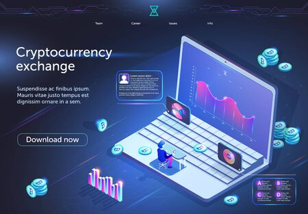 Cryptocurrency Exchange Horizontal Banner. Tiny Male Character Sitting in Front of Huge Laptop Screen with Analytics Financial Data Diagram Digital Business Technology 3D Isometric Vector Illustration 일러스트