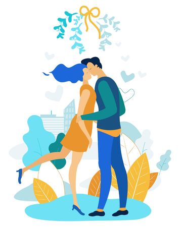 Postcard Couple in Love, Vector Illustration. In Foreground Guy with Girl Hugging and Kissing. Romantic Relationships Young People. Man and Woman Meet to Create Marriage Cartoon Flat.