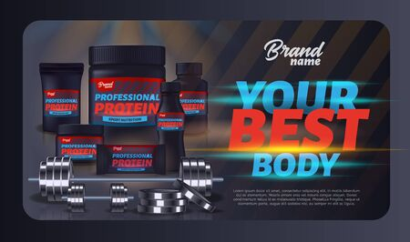 Sport Nutrition Product Containers Ad Banner. Whey Protein for Best Body. Product Packaging Design, Bodybuilding Food Supplement, Weight Gainer Set, Dumbbell, Barbell. 3d Vector Realistic Illustration 写真素材 - 129490316