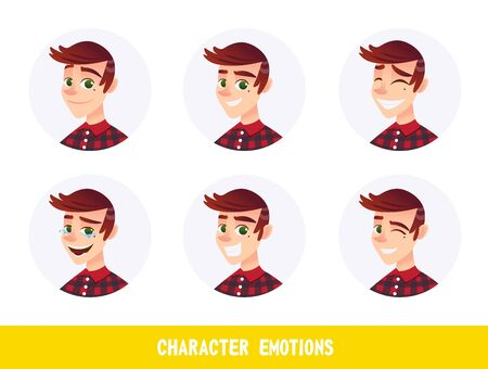 Flyer Character Emotions Lettering Cartoon Flat. Portrait Handsome Guy is Experiencing Positive Emotions: Joy, Laughter to Tears, Love.