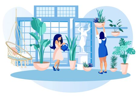 Women in Greenhouse Care of Garden Plants. Girls with Water Can and Cleaning Rag in Orangery Interior with Glass Walls, and Windows, Place for Grow Herbs and Flowers, Cartoon Flat Vector Illustration Ilustrace