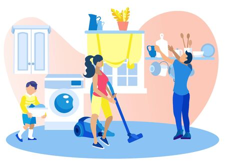 Happy Family Clean Home on Weekend. Mother Vacuuming, Father Put Tableware on Shelf, Little Son Carry Dirty Clothes to Put into Washing Machine. Everyday Home Routine. Cartoon Flat Vector Illustration