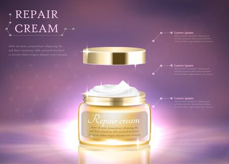 Repair Cream Horizontal Banner with Copy Space. Intensive Moisturizer Contained in Golden Cosmetic Jar with Helical Structure, Cosmetic Ads on Purple with Burst Light 3D Realistic Vector Illustration.
