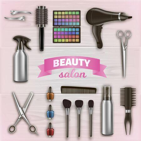 Herramientas de peluquería y cosméticos en superficie de madera. Tijeras y Secador de Pelo. Logotipo en salón de belleza.