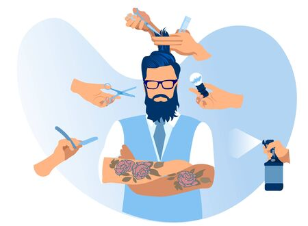 Tattooed Cool and Trendy Handsome Young Bearded Man Wearing Glasses, Jacket and White Shirt Stand with Crossed Hands in Barbershop, Hands with Haircutting Tools around Cartoon Flat Vector Illustration