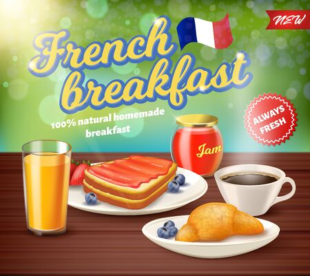 Label Inscription French Breakfast Realistic. 100 Percent Natural Homemade Breakfast. New Always Fresh. 일러스트