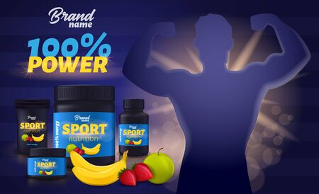 Sport Nutrition with Fruit Flavour, Protein Whey Supplement Black Plastic Containers Package Mockup, Man Bodybuilder Demonstrate Muscles Design. Sports Food Ad Banner. Realistic 3d Vector Illustration  イラスト・ベクター素材