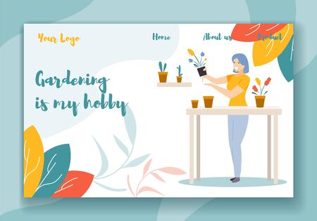 Gardening is my Hobby Horizontal Banner. Young Happy Woman Working with Home Plants in Greenhouse. Recreation Leisure, Domestic Flowers Care, Creative Occupation. Cartoon Flat Vector Illustration Illusztráció