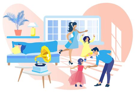 Happy Family Dancing at Home Listening Gramophone Music. Mother, Father and Two Little Daughters Spending Leisure and Spare Time Together in Living Room. Fun, Happiness Cartoon Flat Vector Illustration