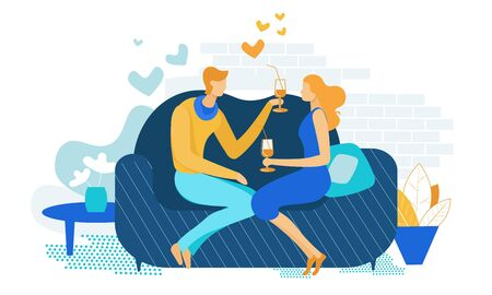 Young Couple Romantic Dating at Home. Loving Male and Female Character Sitting on Couch Drinking Beverage from Glasses with Straw. Declaration of Love, Mutual Sympathy Cartoon Flat Vector Illustration Banque d'images - 129490437