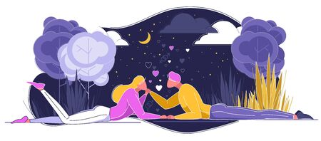 Happy Couple in Love Lying under Sky with Moonlight, Clouds and Stars Flat Cartoon Vector Illustration. Фото со стока - 129490442