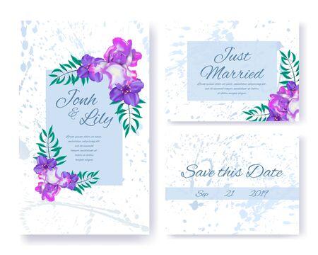 Invitaciones de boda Floral Set. Flores rosadas, púrpuras y follaje verde en marcos de color. Texto de saludo, nombres de cónyuges y fecha sobre fondo de mármol con diseño de manchas. Vector ilustración de flor de hierbas Ilustración de vector