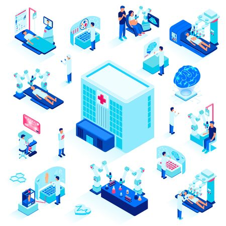 Modern Medicine, Science of Future Set Isolated on White Background, Futuristic Technologies in Medical Scope, Doctors and Patients Using Robots for Health Care, 3D Isometric Vector Illustration.