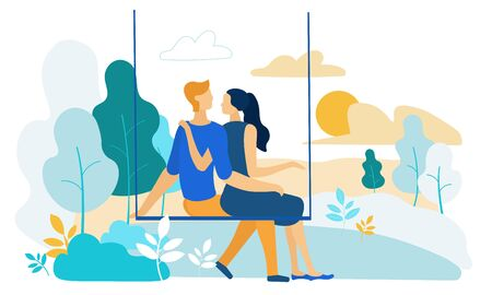 Vector Illustration Couple in Love Riding Swing. Guy with Girl Hugging and Hounding on Swing, Rear View. Romantic Relationships Young People in Nature. Man and Woman are Resting Outside City.