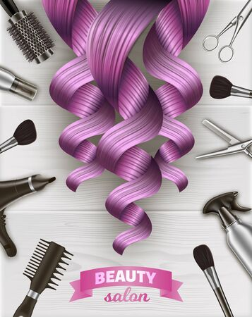 Curls Pink Hair. Beauty Salon Emblem. Hairdresser Tool Kit. Scissors and Hairdryer on Table. Logo on Beauty Salon Items. Vector Illustration. Advertising Image. Gray Background. Hairdressing Supplies.