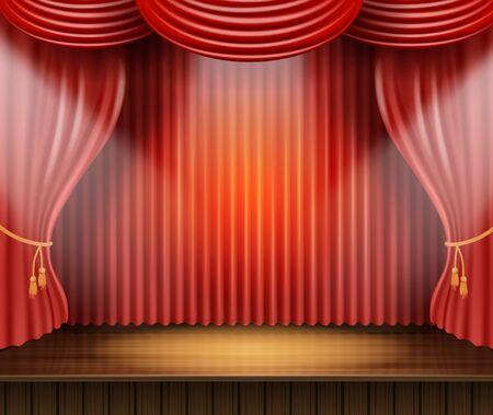 Poster Illustrazione vettoriale di scena teatrale sontuosa. Bella attrezzatura da palco per striscioni per dare atmosfera e creare un design accattivante. Sipario di velluto su piattaforme teatrali Realistico 3d. Vettoriali