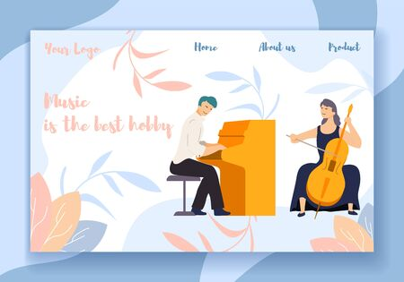 Music is the Best Hobby Horizontal Banner, Male and Female Characters, Artists Playing Piano and Cello on Stage. Musicians Entertainment, Creative Duet Scene Concert. Cartoon Flat Vector Illustration