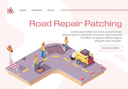 Road Repair, Excavator Cover Hole in Ground with Concrete, Worker Patching Fresh Asphalt, Bagger Excavating Work on Highway, Construction Machinery in Action. Bad Road Isometric 3d Vector Illustration 向量圖像