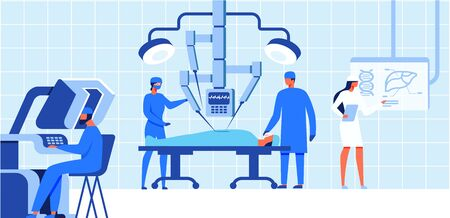 Robotic Surgery Health Care Concept Banner Vector Illustration. Patient laying on Operating Table, Arms of Robot, and Male Doctor Monitoring and Assisting with Controllers. Modern Operation.