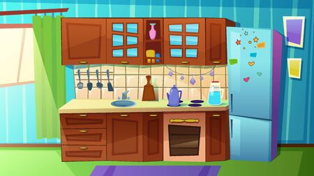 Cozy Modern Kitchen with Household Appliances, Fridge, Stove, Sink. Comfortable Clean Cooking Room with Curtains on Large Window, Tableware, Home Interior Inside. Cartoon Flat Vector Illustration