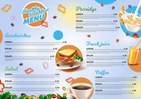Poster Inscription Healthy Breakfast Menu 3d. Banner Assortment Minimum. Simple Menu form for Cafes and Snack Bars. Stylish Menu Designer with Prices. Vector Illustration Realistic. Illusztráció