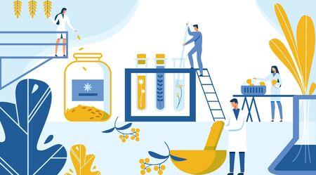 Kreation neuer Formel-Medikamente aus Pflanzenmaterialien. Strategie und Technologie Schaffung neuer Medikamente aus ökologischen Kräutern und Pflanzen. Wissenschaftler setzen Reagenzgläser und Fläschchen ein. Vektor-Illustration.