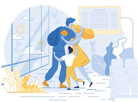 Military man, Serviceman or Soldier Dressed in Uniform Hugging Wife and Child at Airport Flat Cartoon Vector Illustration. Happy Family Members. Meeting Father and Husband. Coming Home. Фото со стока - 129490515