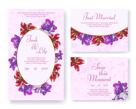 Greeting Wedding Invitation Set with Floral Garlands. Invite Card with Rose and Lily Buds Design on Pink Grungy Space. Just Married, Love this Moment, Spouses Names, Date and Text. Vector Illustration