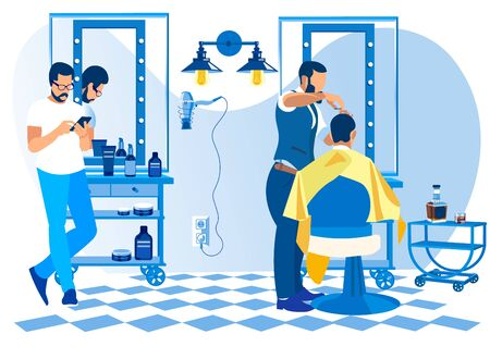 Barber Doing Client Haircut in Men Beauty Salon Barbershop. Hipster Grooming Place,Interior Design with Chairs, Desk, Mirror, Cosmetics, Decoration and Furniture. Cartoon Flat Vector Illustration