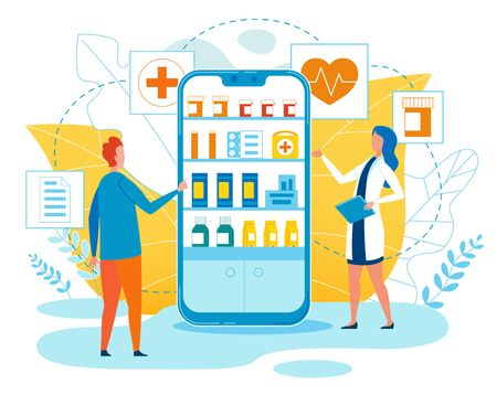 Advertising Banner Online Pharmacy App Cartoon. On Screen Phone are Shelves with Medical Preparations. Man Chooses Pills at Pharmacy. Pharmaceft Recommends Medication. Vector Illustration.
